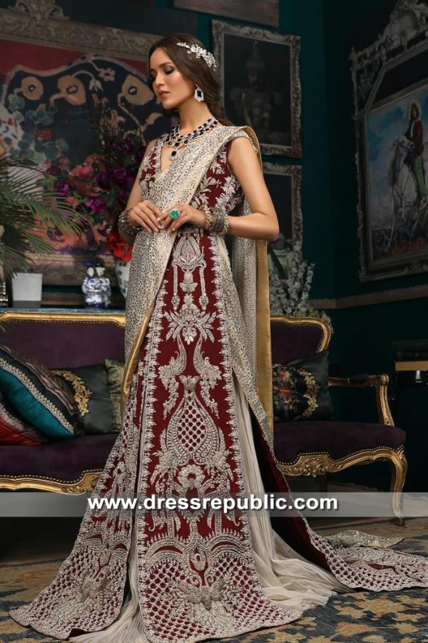 DR15350 Deep Red Sana Safinaz Bridal Lehenga Choli 2019 Shop Online