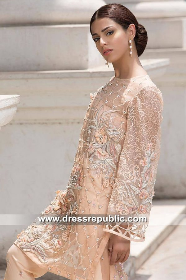 DR15369 South Asian Party Wear Dress 2019 UK in Peach Shop Online