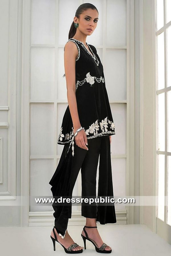 DR15410a Eid 2019 Designer Black Velvet Dress in Sydney, Perth, Australia