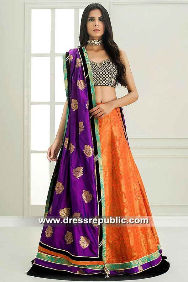 DR15454 Bridal Lehenga Choli for Mehndi Mayoon Bride USA, Canada, UK