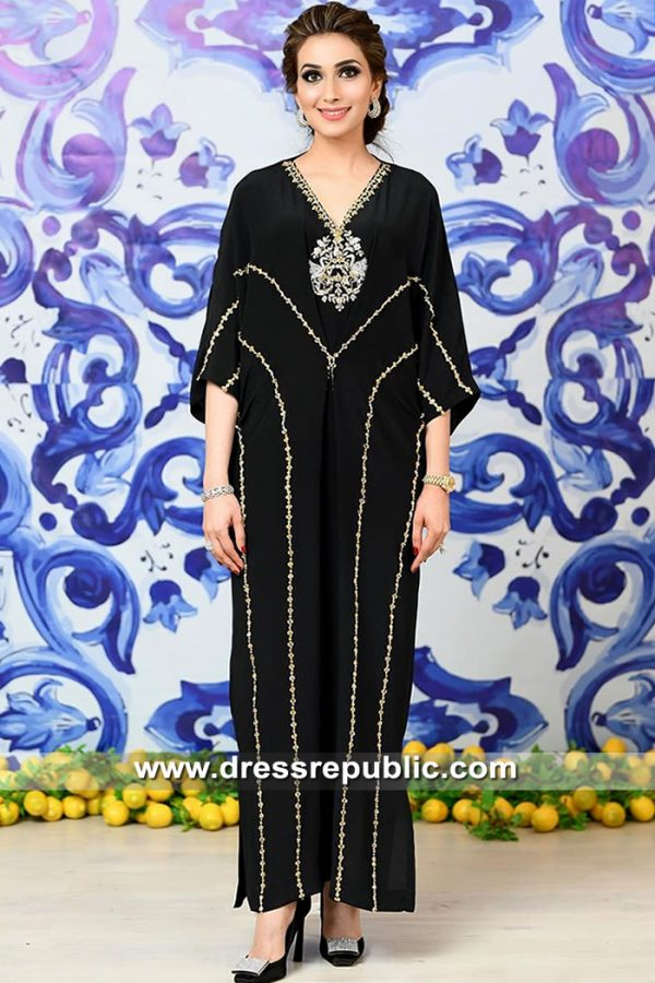DR15478 Eid Kaftan in Black Buy in New York, New Jersey, California, USA