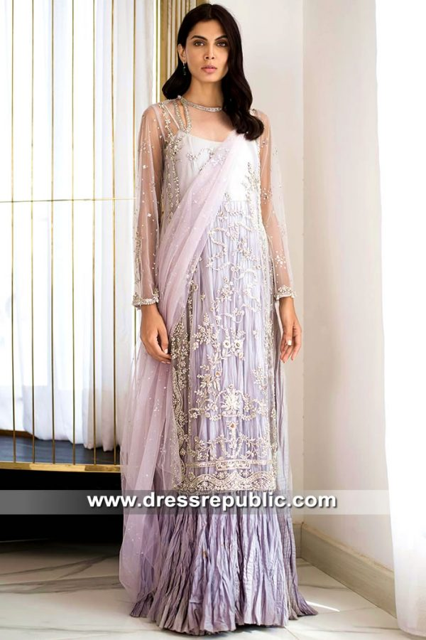 DR15531 Formal Pakistani Indian Designer Lehenga in Lavender Mist Color