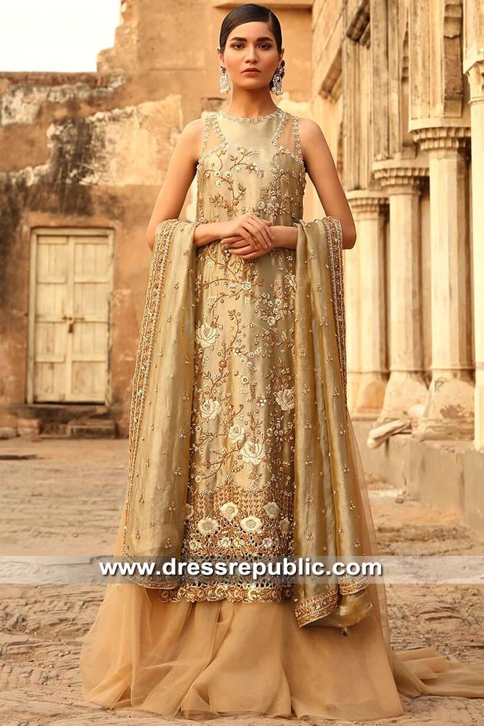 DR15535 Pakistani Bridal Long Shirt With Lehenga and Dupatta Buy Online