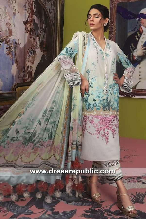 DRP8695 Pakistani Designer Lawn Prints Embroidered Dresses Hoboken, NJ