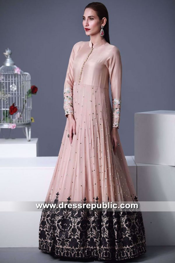 DR15507 Peach Long Anarkali Gown for Asian Wedding Guest Wear 2019