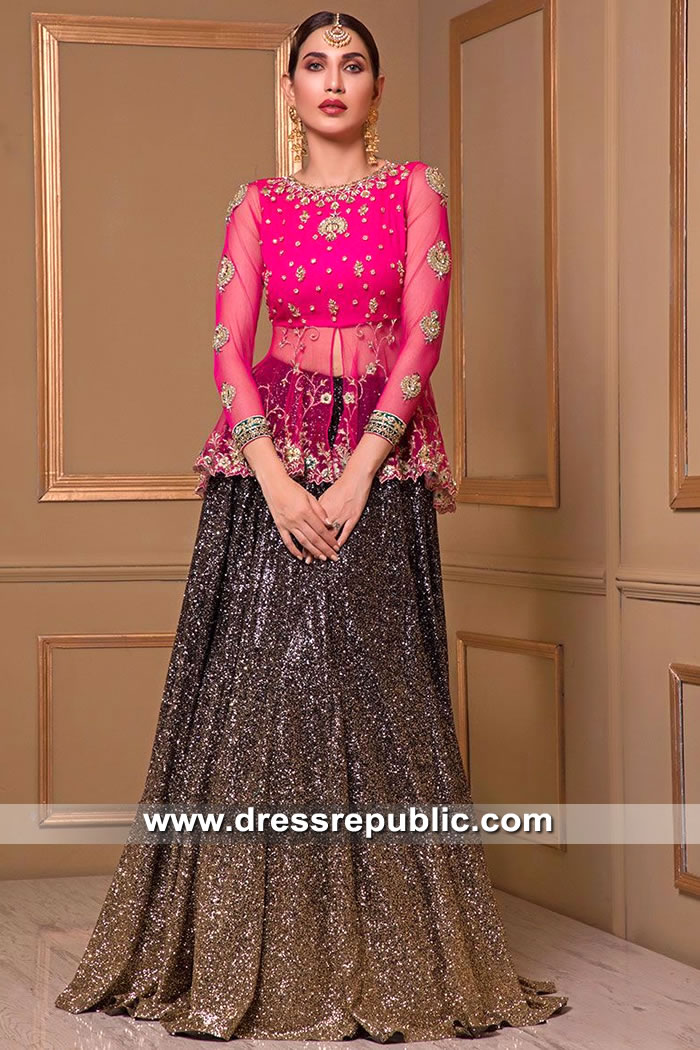 DR15521 Pakistani Lehenga Blouse for Mehndi and Wedding Guest Function