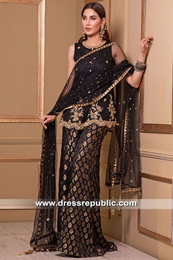 DR15525 Indian, Pakistani Dresses for Wedding Guest in Black Buy in USA