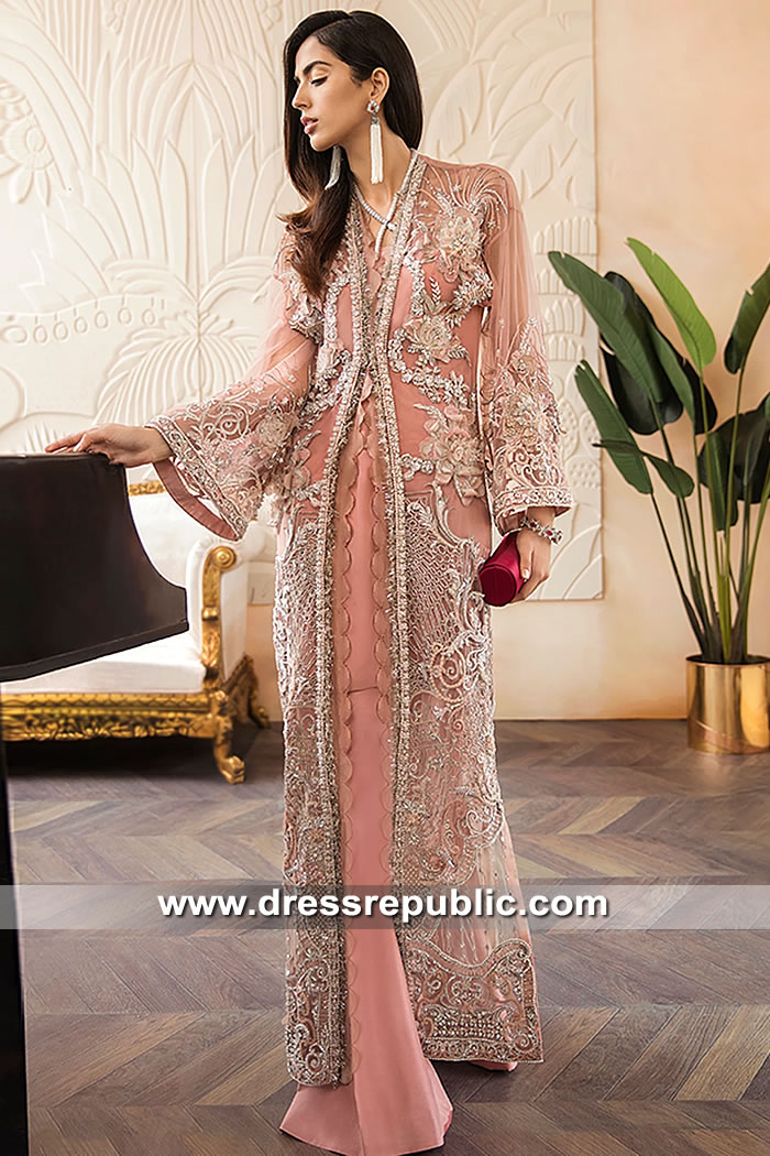 DR15582 Desert Peach Front Slit Jacket Dress with Floral Work Shop Online