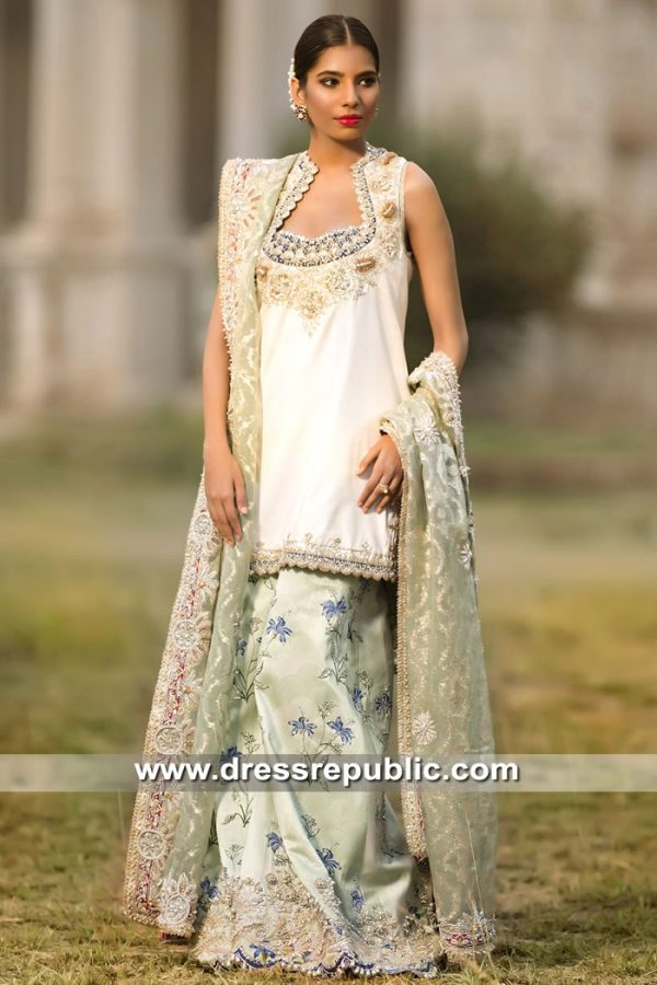 DR15597 Elan Off White Bridal Lehenga Shirt Buy in Cayman Islands, West Indies