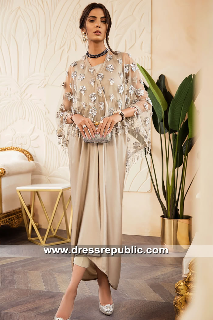 DR15604 Pakistani Designer Cape Dresses 2019 Collection Online Shopping