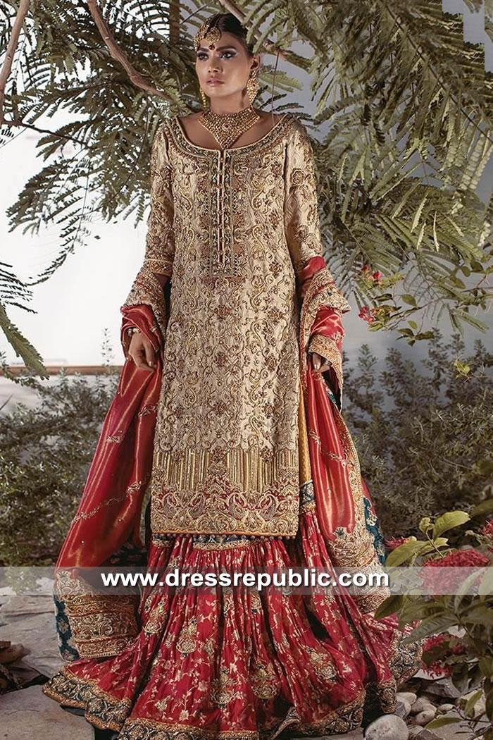 DR15609 Designer Farshi Gharara in Antique Gold & Deep Red Buy Online