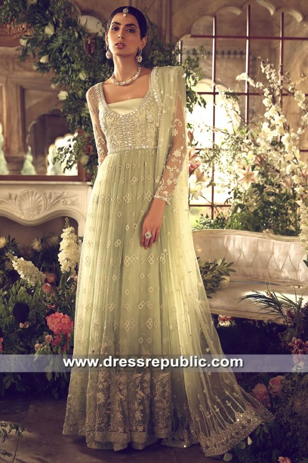 DR15615 Anarkali Dresses in Soft Pastel Shades, Light Colored Wedding Anarkali