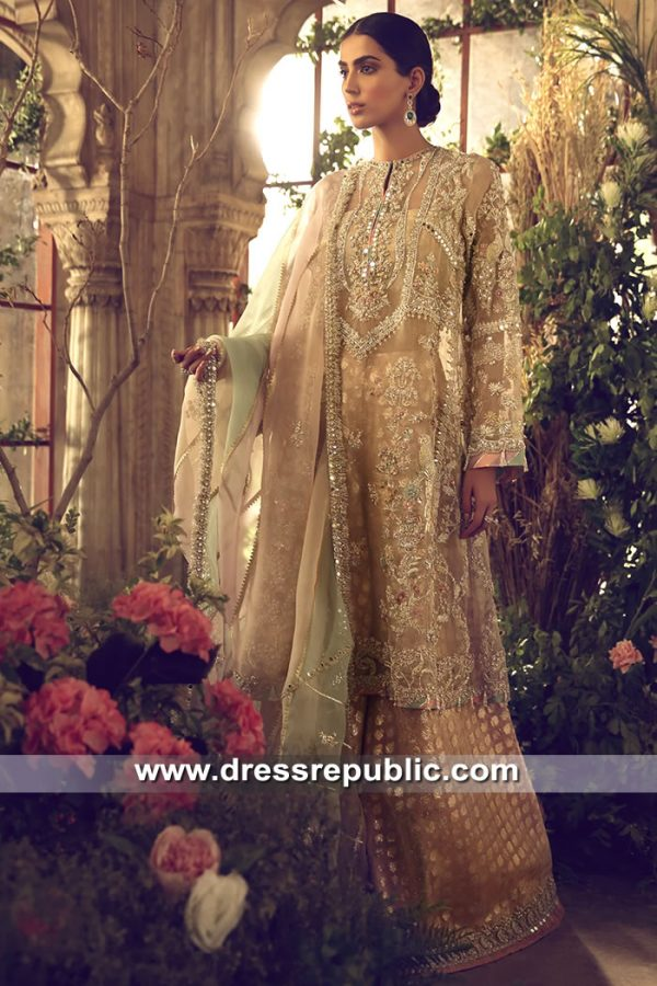 DR15620 Peach Bridal Sharara by Elan Bridal Couture 2019 Buy in England, UK
