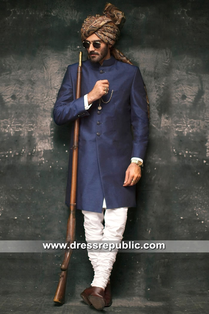 DRM5304 Blue Sherwani for Wedding 2019 Los Angeles, California, USA