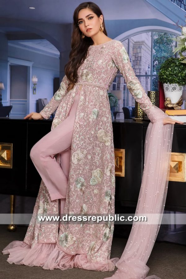 DR15638 Pink Floral Embroidered Gown for Muslim Wedding UK, USA, Canada