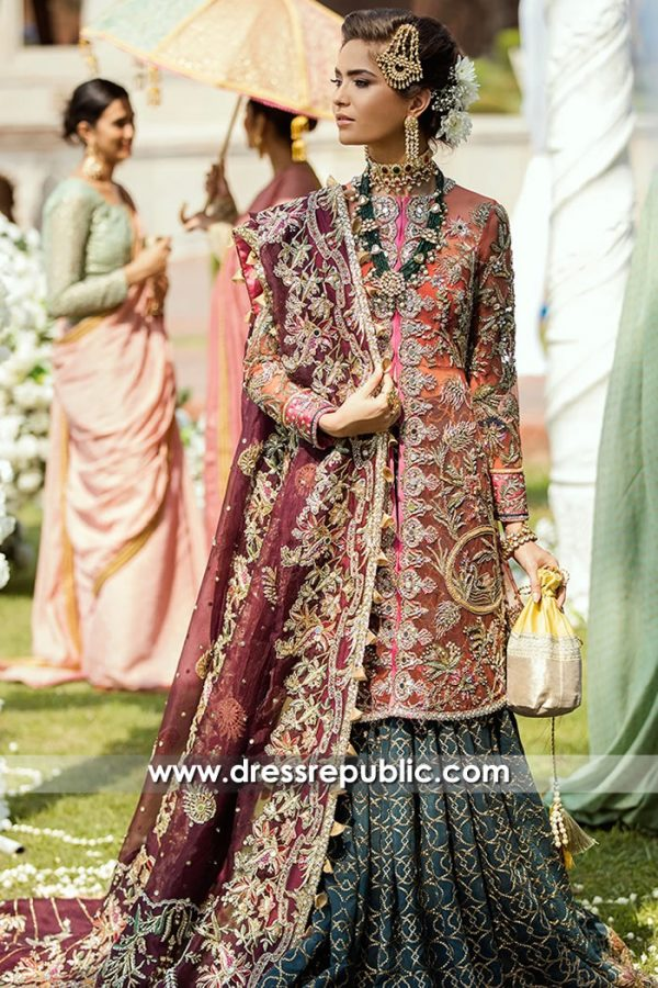 DR15702 Teal, Pink and Plum Bridal Lehenga by Dress Republic Womenswear
