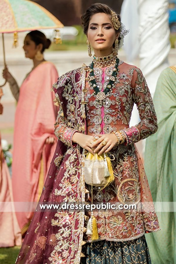 DR15702b Teal, Pink and Plum Bridal Lehenga by Dress Republic Womenswear