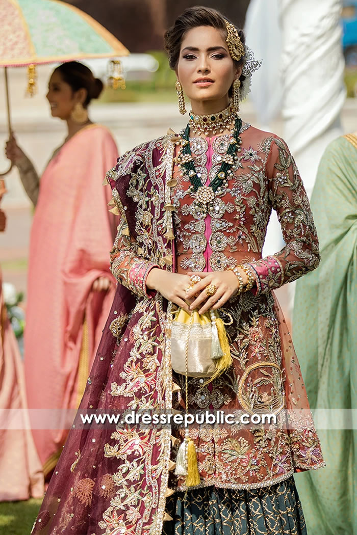 DR15702b Teal, Pink and Plum Bridal Lehenga by Dress Republic Womenswear