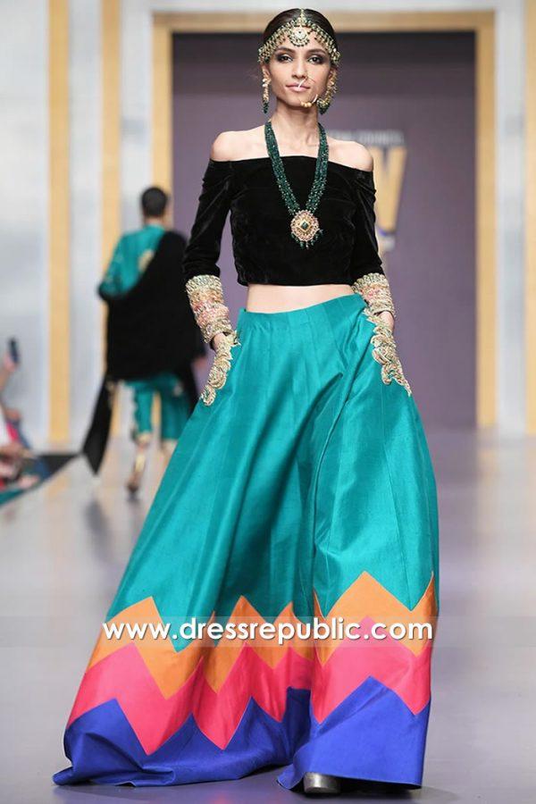 DR15730 Multi Color Lehenga Style Velvet Blouse For Mehndi, Sangeet Buy Online