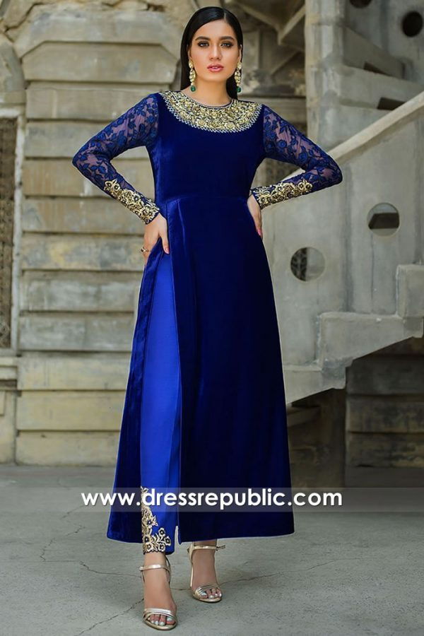 DR15740 Indian Pakistani Velvet Dresses for Winter Buy Online in USA, Canada
