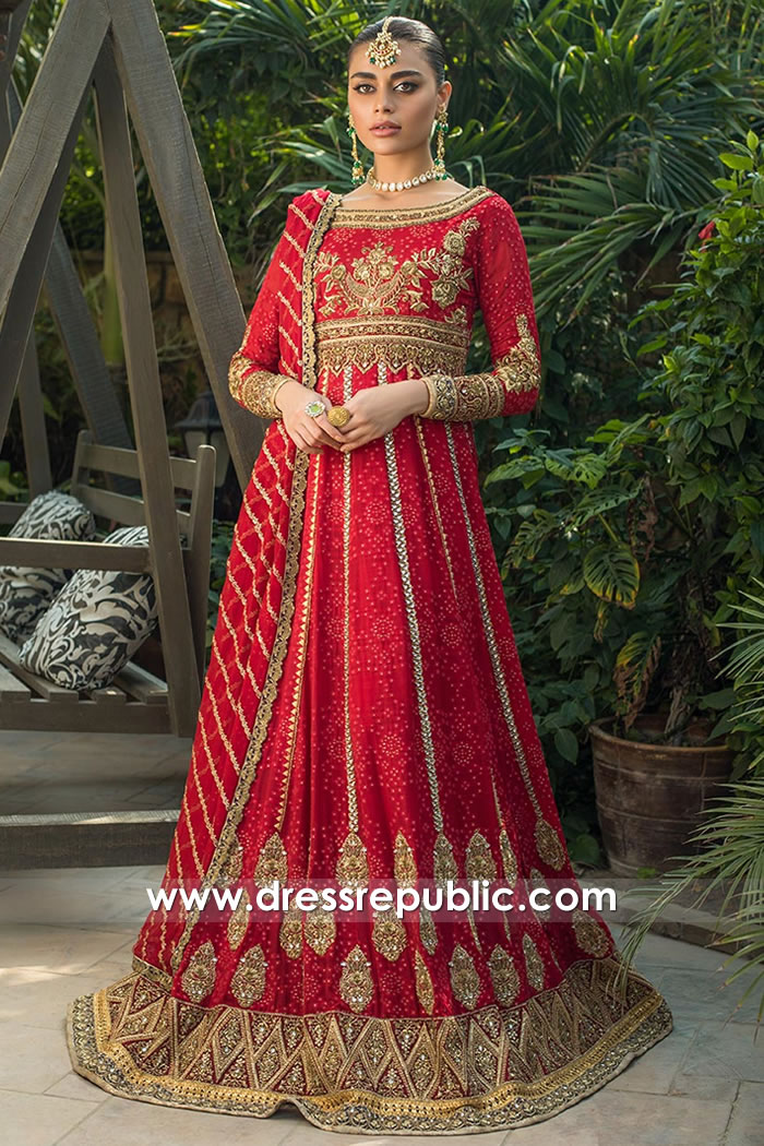 DR15751 Zainab Chottani Bridal Gown in Deep Red Buy Online in New York, USA
