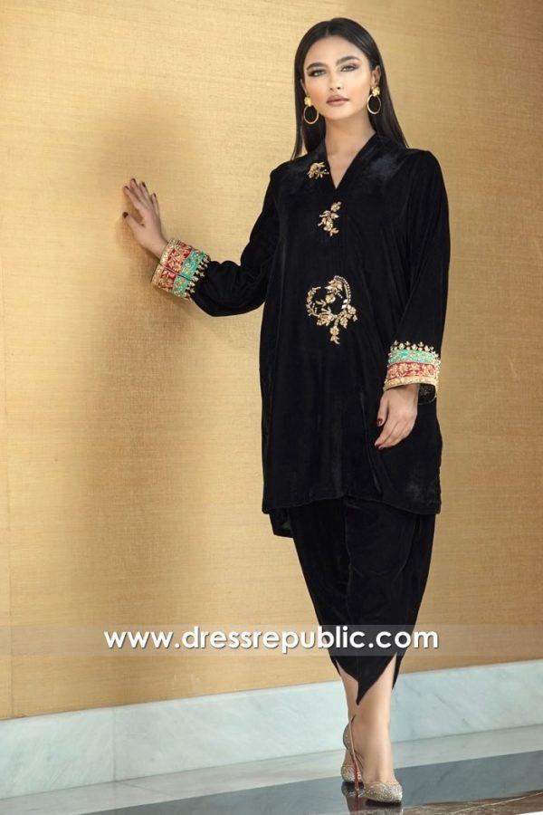 DR15779 Black Velvet Party Dress With Tulip Pants Buy Online England, UK